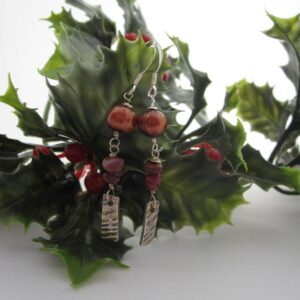 Handcrafted Silver Earrings with Ruby and Pearls