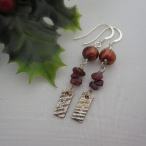 Silver Earrings with Ruby and Pearls