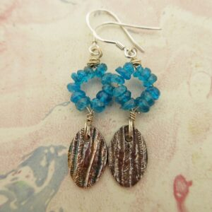 handcrafted silver earrings with blue quartz