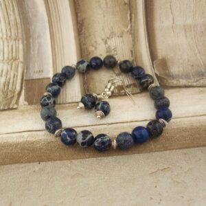 Dark Blue Variscite Bracelet and Earrings by Indigo Berry