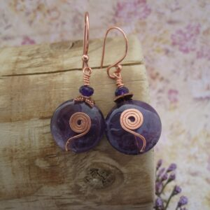 Amethyst Earrings with Rose Gold Plated detail