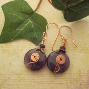 Amethyst Coin Earrings by indigo Berry