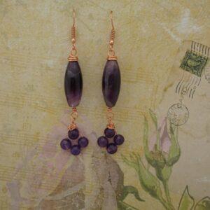 Amethyst Long Drop Earrings by Indigo Berry
