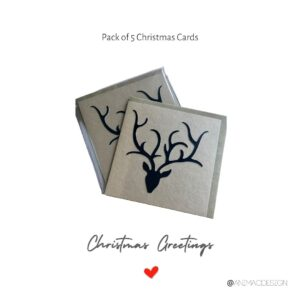 Stags-Head-Christmas-Cards-Black-on-Kraft-by-AniMac-Design