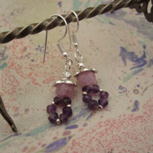 Amethyst and Pink Moonstone Earrings by Indigo Berry