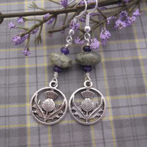 Thistle Earrings with Amethyst and Jasper by Indigo Berry