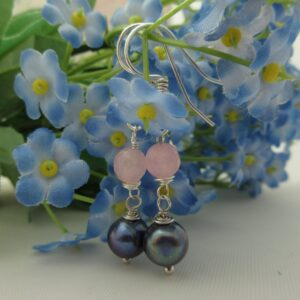 Rose Quartz and Pearl Earrings by Indigo Berry