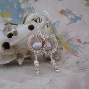 Sterling Silver Celtic Circle Earrings with Pearls by Indigo Berry