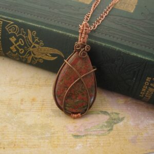 Unakite Wire Wrap Pendant by Indigo Berry