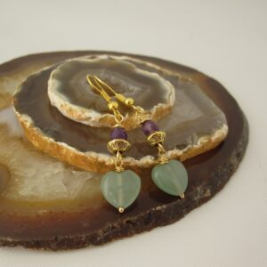 Aventurine and Amethyst Earrings by Indigo Berry
