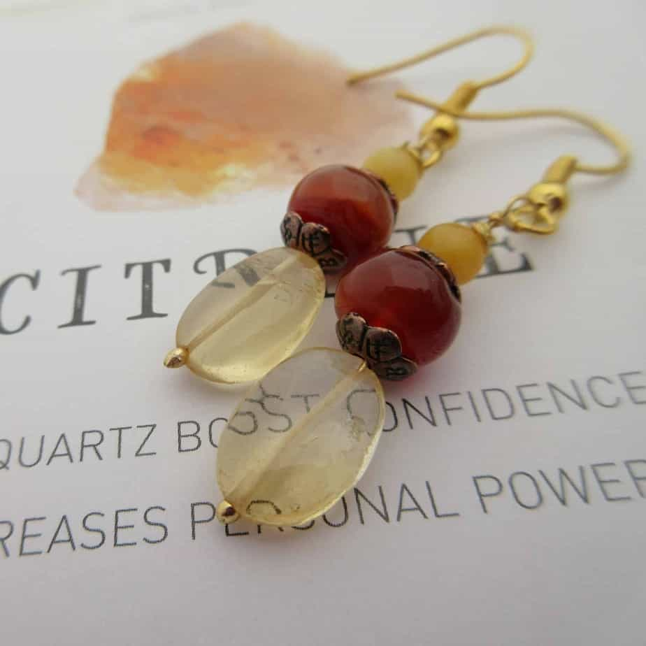 Amber and Carnelian Copper Earrings