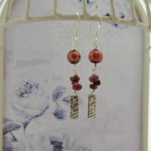 Ruby and Pearl Handcrafted Silver Earrings by Indigo Berry