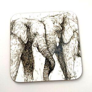 Elephants Entwined Coaster
