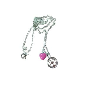 Pink Heart & Button Charm Necklace