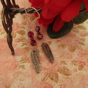 Handcrafted Silver Earrings with Garnet by Indigo Berry