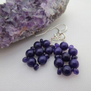 One of a Kind Purple Gemstone Earrings by Indigo Berry