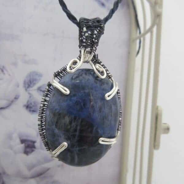 Blue Sodalite Wire Wrap Pendant by Indigo Berry