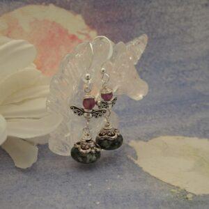 Fairy Earrings with Jasper and Fluorite