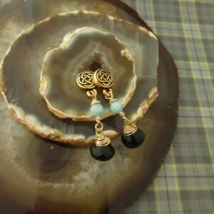 Smokey Quartz Celtic Earrings by Indigo Berry