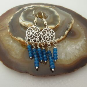 Drop earrings with silver plated dream catcher detail and cascades of bright blue quartz. On silver plated ear wires. Designed and created in the Isle of Skye