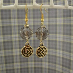 Drop Earrings with Smokey Quartz and gold plated celtic knotwork charms.