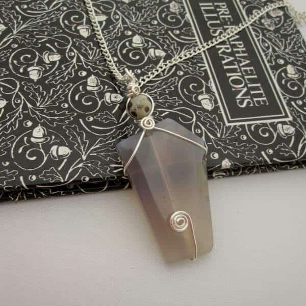 Grey Agate Pendant with Silver Plated Wire Wrap and dalmatian jasper focal bead