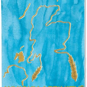 Golden outline of Scotland decorated with barley with a watercolour blue background.
