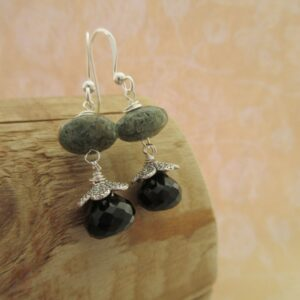 Drop earrings with green speckled woodland jasper and smokey quartz, finished with silver plated bead caps and ear wires