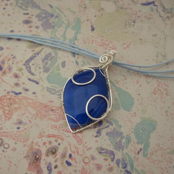 Blue Agate Pendant with Wire Wrap Detail