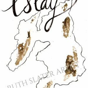 Isle of Islay Original Map with Gold Leaf