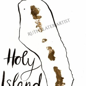 Holy Island with gold leaf